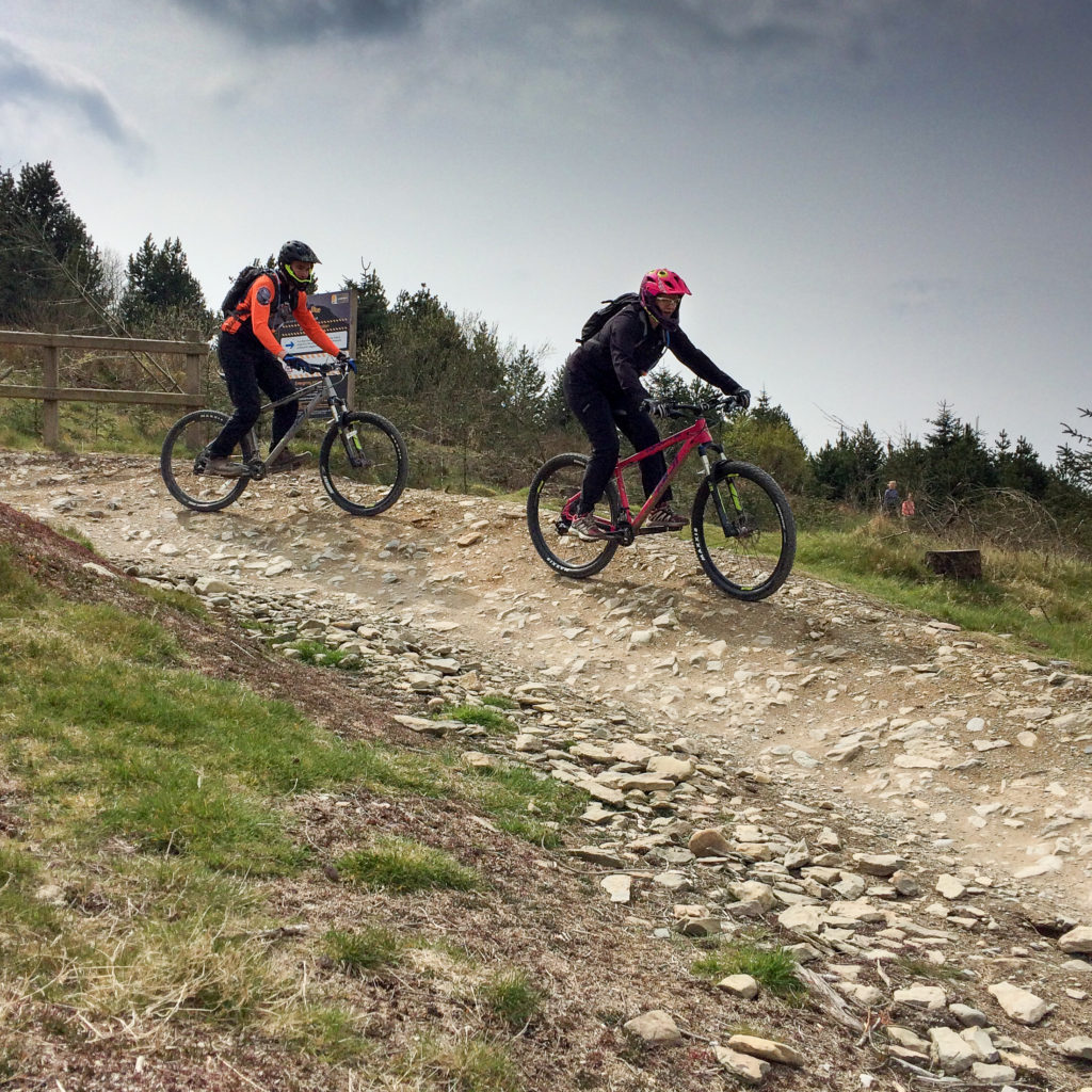 Dave and Kirsty setting off on the blue trail at Llandegla
