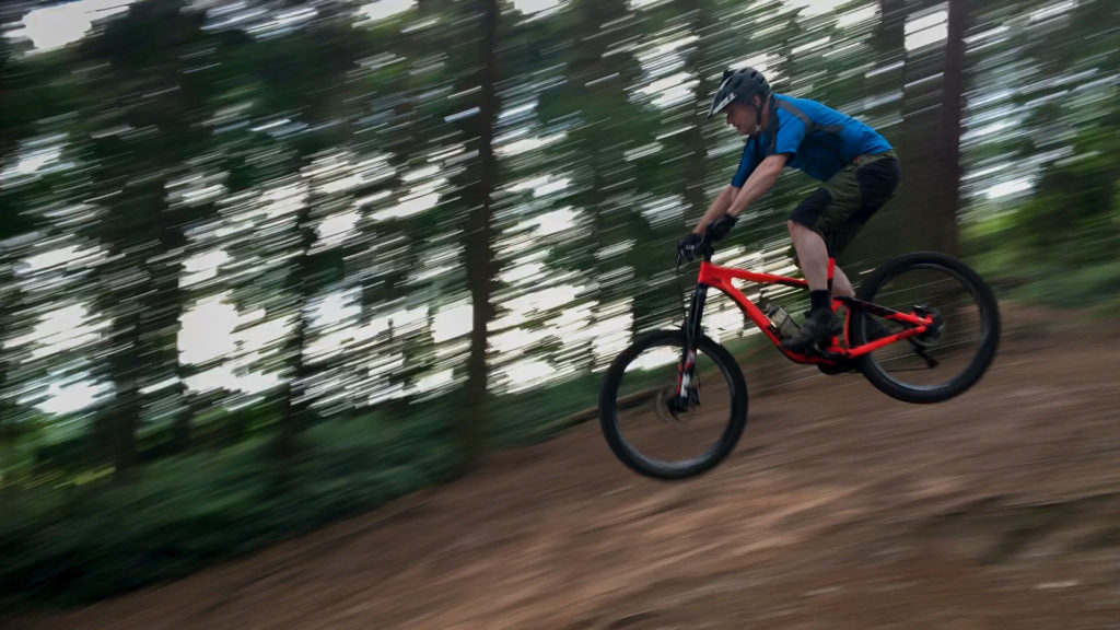 Ian jumping (and even landing it) at Delamere on the MTB Club ride