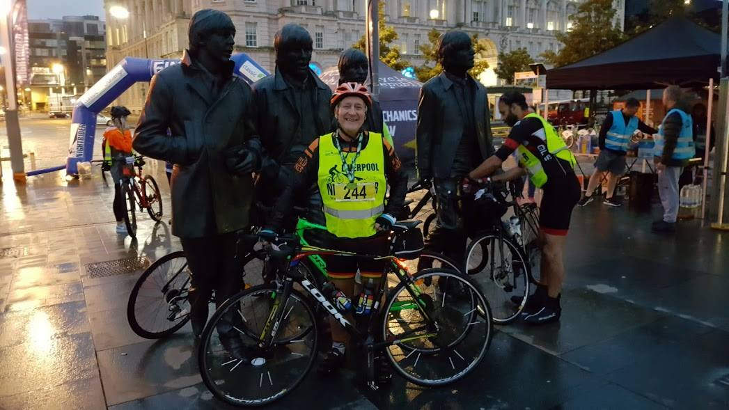 Ray after completing a very wet and windy Liverpool Nightrider 2017