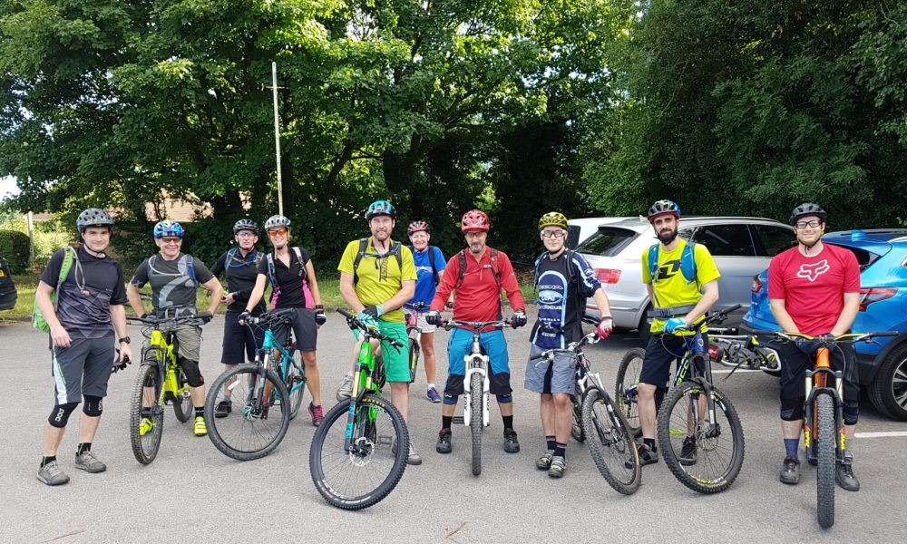 Large group for the Social MTB Ride at Delamere